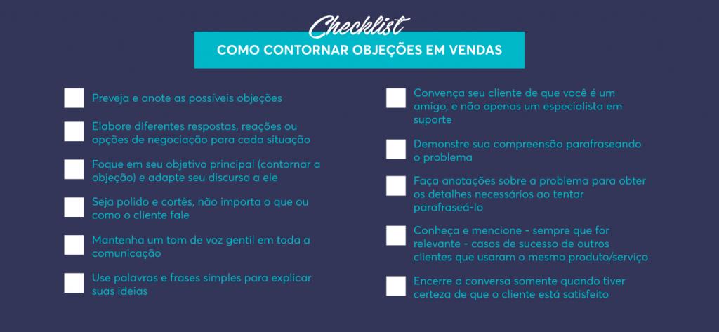 Checklist como contornar objeções em vendas