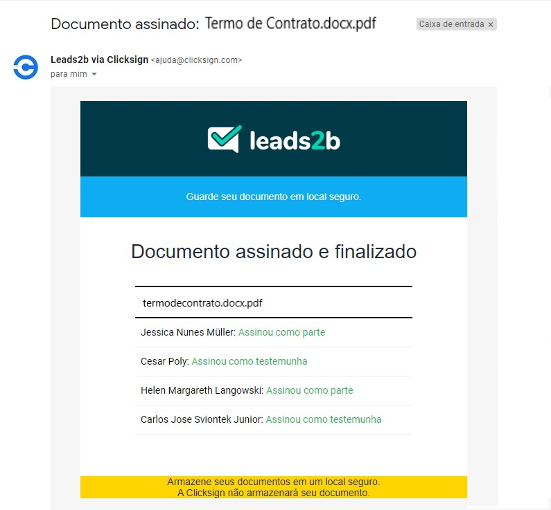 Vendas remotas - documento assinado enviado por e-mail para armazenamento seguro